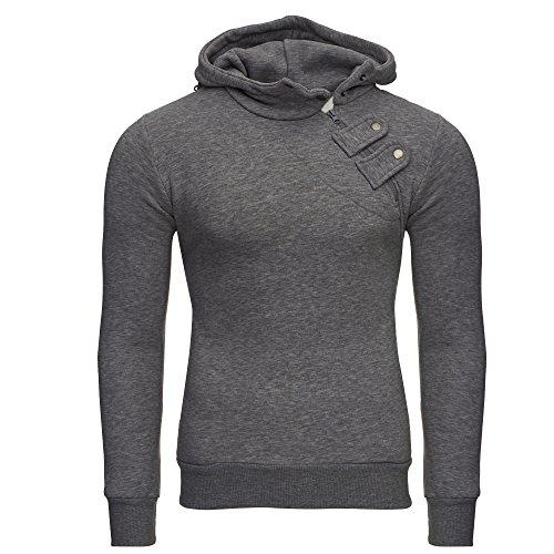 Tazzio Herren Styler Sweatshirt mit Kapuze Pullover Hoodie 16212 Anthrazit L