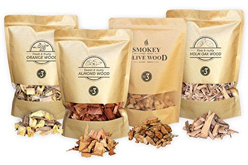 Smokey Olive Wood 4X 1700ml selección de virutas de Madera para Barbacoa & ahumar, Olivo, Naranjo, Almendro, encina