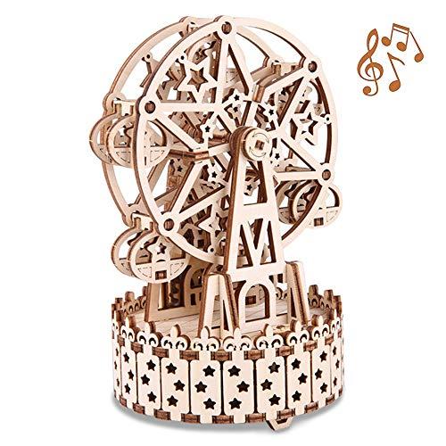 GuDoQi Rompecabezas de Madera 3D Cortado con Láser, Noria Giratoria con Caja de Música, Modelo Mecánico para Construir, Kit de Artesanía, Juguete de Montaje de Bricolaje para Adolescentes y Adultos