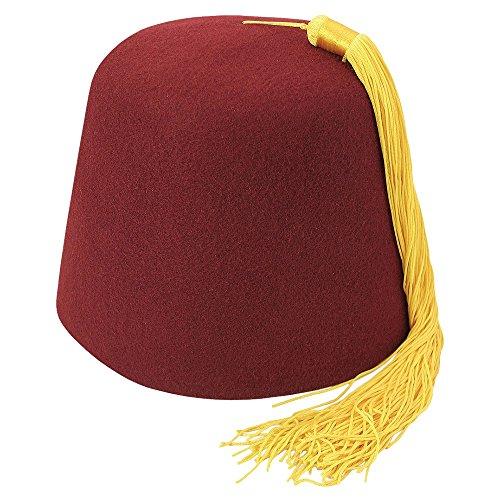 Village Hats Chapeau Fez Bordeaux avec Houppe dorée Large