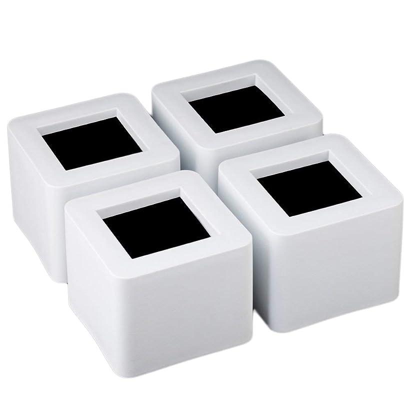 ライムキノコ苦味Uping テーブル? ベッドの高さ調節が簡単にできる ベッド の高さをあげる足 4個セット 高さを上げる 高さ調節脚 こたつ 継足し 継ぎ足 テーブル脚台 高さ調整 暖房器具 (耐荷重1000kg) ホワイト