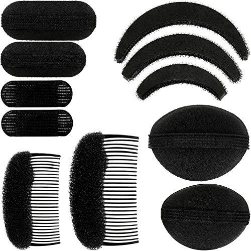 11 Stücke Damen Volumen Haar Bases Haar Styling Einfügen Werkzeuge Haar Kämme Clips Schwarz Schwamm Haar Zubehör für Damen DIY Frisuren