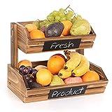 Cesta de frutas de madera de 2 niveles con pizarras, cocina decorativa de granja, huecos para frutas, organizador de almacenamiento, soporte para verduras, frutas, alimentos, aperitivos, etc.
