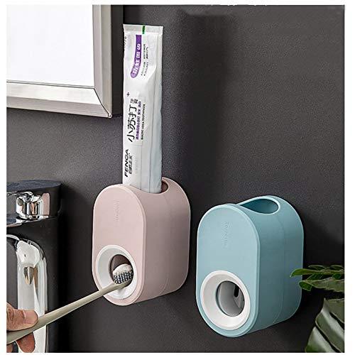 2 Pezzi Dispenser di Dentifricio Automatico da Parete, Spremi-dentifricio Automatico, Set di Accessori Multifunzione con Adesive Montaggio Facile per Adulti Bambini Famiglia