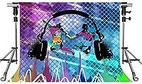 HDミュージックステージ背景ヘッドフォンミュージカルロックスター10X7ft写真背景テーマパーティーフォトブースYouTube背景LSMT030