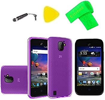 TPU Flexible Skin Cover Case Cell Phone Accessory + Screen Protector + Extreme Band + Stylus Pen + Pry Tool For ZTE Jasper LTE Z718TL  TPU Purple