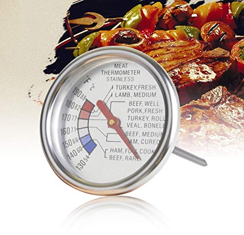 Aveloki Roasting Meat Thermometer T729E,Stainless Steel Classic Fry Meat Thermometer,Silver Easy-Read Face For