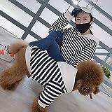 DOGCATMM Ropa para Perros a Rayas Sudadera con Capucha para Perros Grandes Ropa a Juego para Mascotas Otoño Invierno Mascotas Perros Ropa para Perros Grandes Disfraz Labrador Bulldog