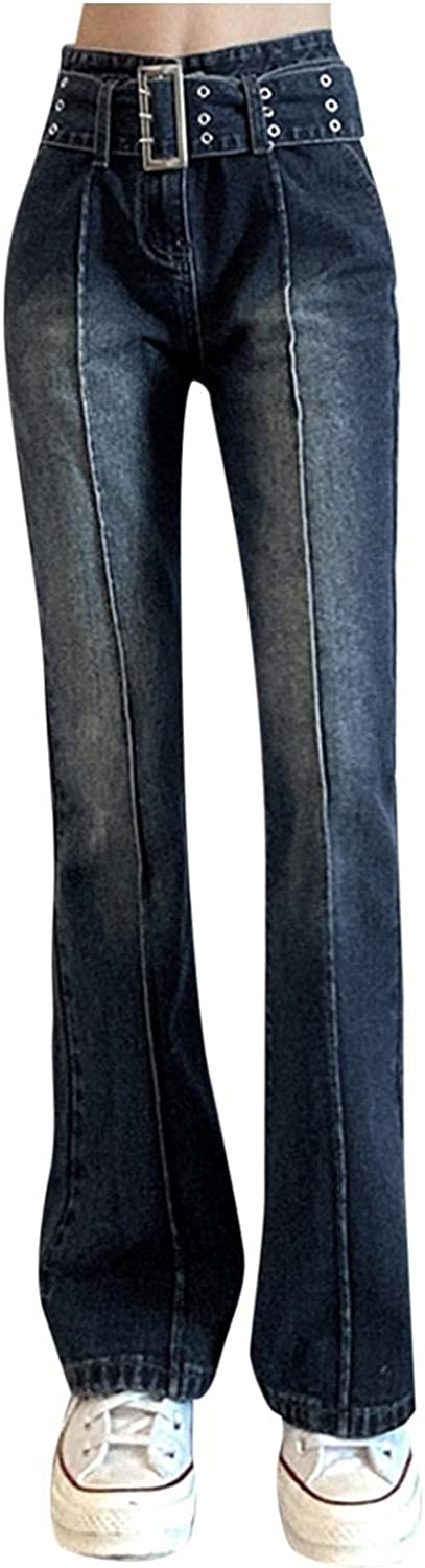 Women's Vintage Bell Bottom Jeans High Waisted Stretch Slim Fit Wide Leg Denim Pants Casual Pocket Flare Jeans Trousers