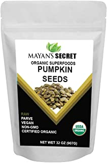 Mayan's Secret Superfoods Organic Pumpkin Seeds, 2 Lbs - Premium Quality | Fresh | Raw | Unsalted