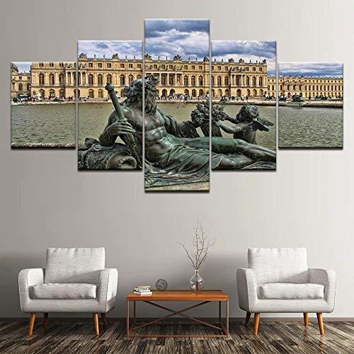 5 Lienzos Impresión Cuadros Galería de Arte de la Universidad de Yale Modificado Imagen Gráfica Decoracion para Salón Dormitorio Pared Listo para Colgar Marco 150X80cm