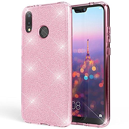 NALIA Custodia compatibile con Huawei P20 Lite, Glitter Copertura in Silicone Protezione Sottile Telefono Cellulare, Slim Gel Cover Case Protettiva Scintillio Smartphone Bumper, Colore:Pink