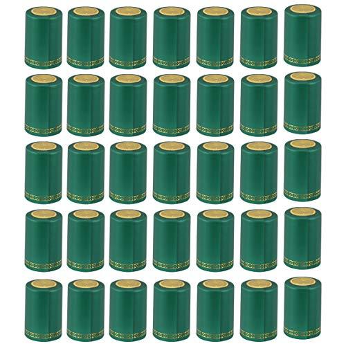 Hemoton 100 Stück PVC-Schrumpfkapseln Weinflaschenkapseln Weinschrumpffolie Geeignet für Weinflaschen Heimgebrauch 33Mm (Grün)