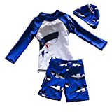 TAIYCYXGAN Baby Boys Kids Long Sleeve UV Sun Protection Rash Guards Swimsuit with Hat Blue S:2-3 Years