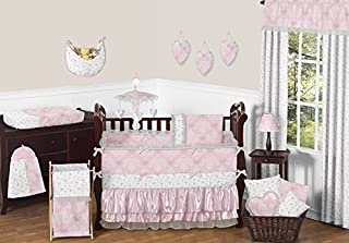 Sweet Jojo Designs 9-Piece Pink, Gray and White Shabby Chic Alexa Damask Butterfly Girls Baby Bedding Crib Set with Bumper