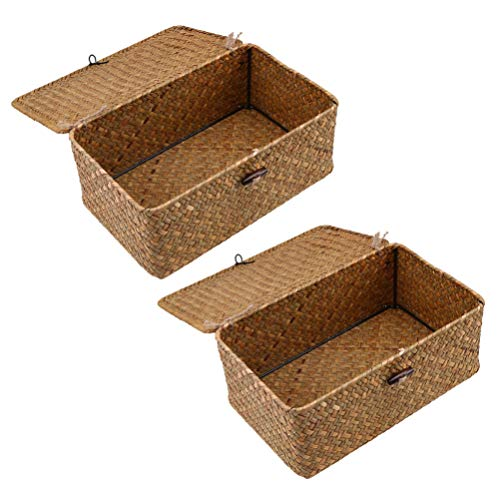 Yardwe 2pcs Woven Straw Closet Storage Organizer Basket Bin for Cube Furniture Shelving in Closet Bedroom Bathroom Entryway Office