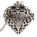 Reloj de bolsillo con forma de corazón hueco de plata para mujer, con cadena y colgante de cuarzo, para el día de San...