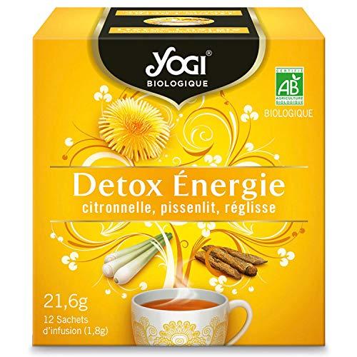 Yogi Biologique Détox Énergie, Infusion 100% Bio Citronnelle, Pissenlit et Réglisse, 12 Sachets thermosoudés et sans agrafe, 21.6 g, 310211