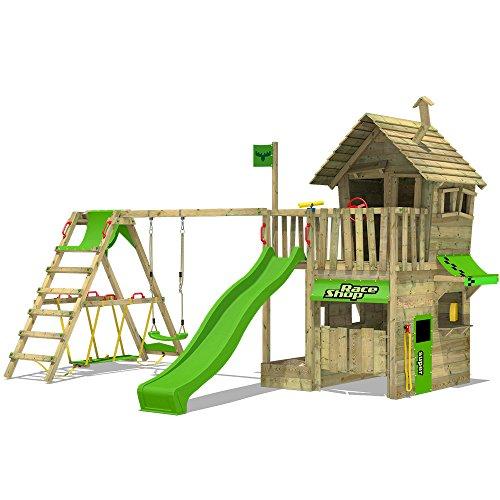 FATMOOSE Speeltoestel met SurfSwing voor tuin RebelRacer met appelgroene glijbaan en enkele schommel, Houten speeltuig, Klimtoestel voor buiten met zandbak en klimladder, Speelhuis voor kinderen