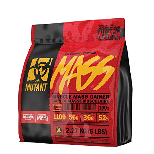 MUTANT Mass Weight Gainer Protein Powder with a Whey Isolate, Concentrate, and Casein Protein Blend, for High-Calorie Workout Shakes, Smoothies and Drinks, 2.27 kg (5 lbs) - Strawberry Banana