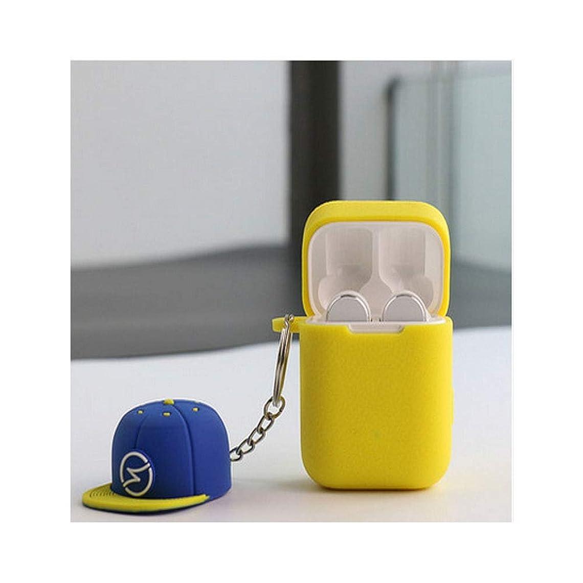 見えない癒すサラダJielongtongxun001 ヘッドフォンカバー、Bluetoothワイヤレスイヤホンシリコンケース、クールな個性、野球帽のペンダント、ソフトレザー、滑り止めパッド付きイヤホンバッグ 軽量 (Color : Yellow)