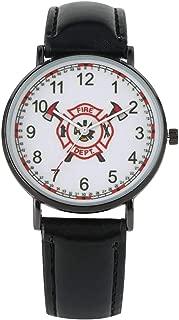 Unique Fire Brigade Logo Dial Watch Luxury Black Case Quartz Watches Elegant Black Leather Wristwatch