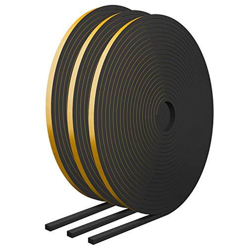 RATEL Mousse Bande de Joint D'étanchéité en Caoutchouc 6 mm (l) * 3 mm (H) * 18 m (L) Avec des Ciseaux * 1, Bandes de Joint Auto-adhésives Anti-collision et Anti-collision pour Fenêtre de Porte (Noir)
