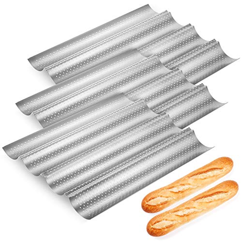 3 Pieces Perforated Baguette Pan 15' x 13' for French Bread Baking Nonstick Carbon Steel 4 Wave Loaves Loaf Bake Mold 4 Gutter Oven Toaster Pan Tray Toast Cooking Bakers Mold