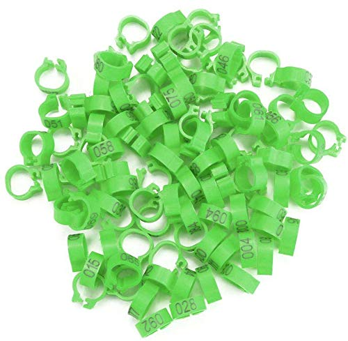 6 Colors 100Pcs/Bag 8MM 001-100 Numbered Plastic Bird Leg Bands Rings Hen Pigeon Leg Poultry Dove Bird Chicks Parrot Clip Rings Band(Green)