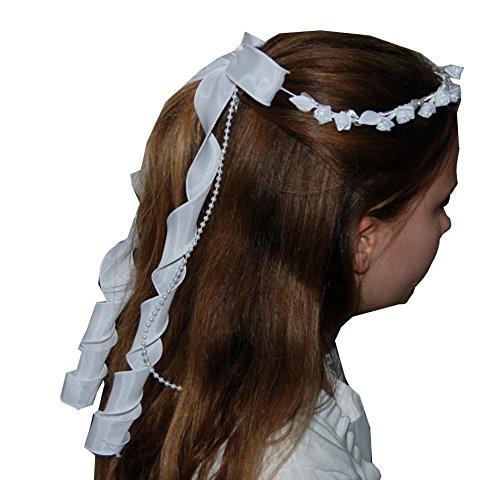 Helgas Modewelt Rundkranz, Haarkranz, Kranz zur Kommunion/Kommunionkleid, one size, weiß