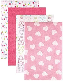 Luvable Friends 4 Count Flannel Receiving Blankets, Pink Heart (Discontinued by Manufacturer)
