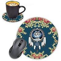 Log Zog ラウンドマウスパッド コースターセット 花柄の背景 ドリームキャッチャー ウルフデザイン マウスパッド 滑り止め ゴムマウスパッド オフィスアクセサリー デスクデコ マウスパッド コンピュータ ノートパソコン用