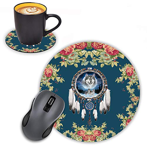 Log Zog Round Mouse Pad with Coasters Set, Floral Background Dream Catcher & Wolf Design Mouse Pad Non-Slip Rubber Mousepad Office Accessories Desk Decor Mouse Pads for Computers Laptop