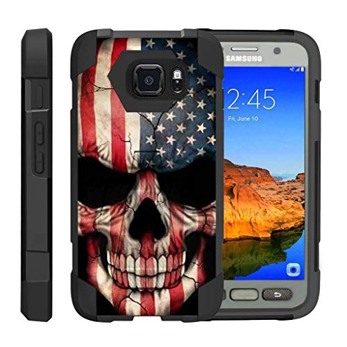 TurtleArmor | Compatible with Samsung Galaxy S7 Active Case | G891A [Dynamic Shell] Hybrid Dual Layer Hard Shell Kickstand Silicone Case - US Flag Skull