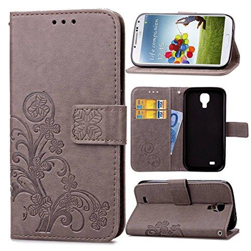 pinlu Funda para Samsung Galaxy S4 Mini (i9190) 4.3 Pulgada Función de Plegado Flip Wallet Case Cover Carcasa Piel PU Billetera Soporte con Trébol de la Suerte Gris