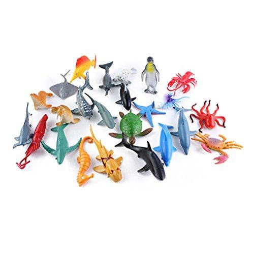 TOYMYTOY Meer Tier Badespielzeug Figuren, 24 Pack, Kunststoff Ozean Kreatur Spielzeug Set für Kinder, Tier Kuchen Topper