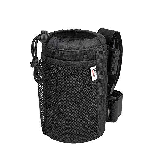 kemimoto Wheelchair Cup Holder, Rollator Drink Holder Universal Walker Cup Holder Stroller Water Bottle Carrier with Mesh Pockets-Washable Collapsible Adjustable, Black…