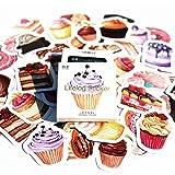 SparkTime Autocollants Cupcake [Lot de 45] Stickers Cupcake pour Loisirs créatifs
