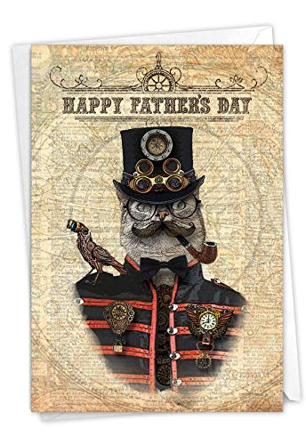 Steampunk Cats - Vintage Fathers Day Note Card with Envelope (4.63 x 6.75 Inch) - Smoking Captain Cat, Retro Dad Card From Wife, Kids - Father's Day Greeting Notecard for Dad, Grandpa C6554AFDG