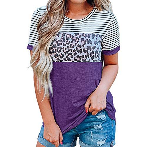 Camiseta Negra de Manga Corta para Mujer, Estampado de Leopardo, Novedad, Camiseta Informal de Verano Camisetas de Verano con Costura de Rayas de Leopardo para Mujer Blusa Informal Holgada con túnica