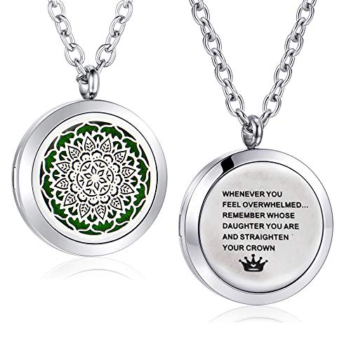 AZORA Stainless Steel Aroma Therapy Aromatherapy Essential Oil Diffuser Necklace Locket Pendant Daughter Necklace
