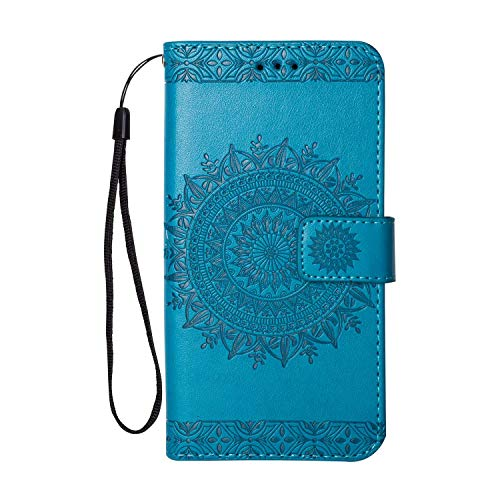 Galaxy J5 2017 Hülle, SONWO Premium Prägung Mandala PU Lederhülle Flip Brieftasche Hülle Cover Schale Ständer Etui Wallet Tasche Case Schutzhülle für Samsung Galaxy J5 2017, Blau
