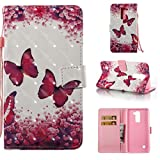 Lg Stylo 2 Case, PU Leather Wallet Case Durable Magnetic Case Cover Credit Card Holder Protective Book Case Xmas Halloween Birthday Gift for Lg Stylo 2/Lg Stylus 2/Ls775-Butterfly