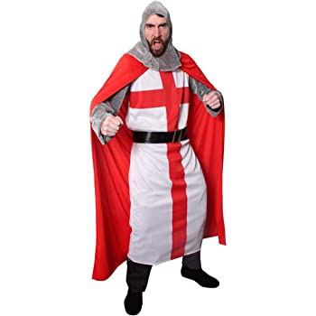 Adult BLACK KNIGHT King Arthur St Georges Medieval Fancy Dress Costume Male S-XL