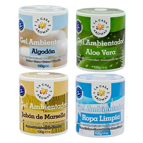 lacasadelosaromas 4 Botes Ambientador Gel Algodón, Aloe Vera, Jabón de Marsella y Ropa Limpia
