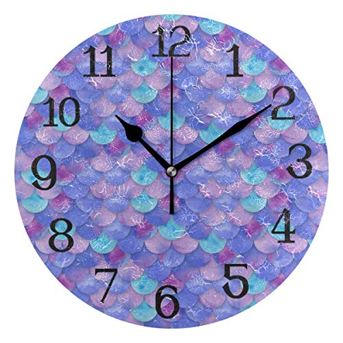 Modern Silent Wall Clock Round Circle Mermaid Scales Best 10 inch Excellent Accurate Sweep Movement Decorative for Kitchen, Living Room, Bedroom, Bathroom, Bedroom, Office Decor