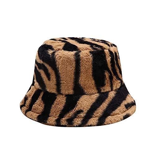 hat Hombres de Invierno y Sombreros de Mujer, Sombreros de Peluche cálidos rayados, Sombreros de Pescadores, Sombreros de Lavabo, Sombreros de Cubo (Color : Brown)