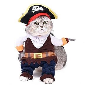 Pawz Road Costume De déguisement pour chiet ou chat trés adorable Costume pour Halloween Costume de pirates Caribbean Pirates fascinant Costume avec chapeau et pèlerine Costume Hallween pour petits moyens grands chien et chats