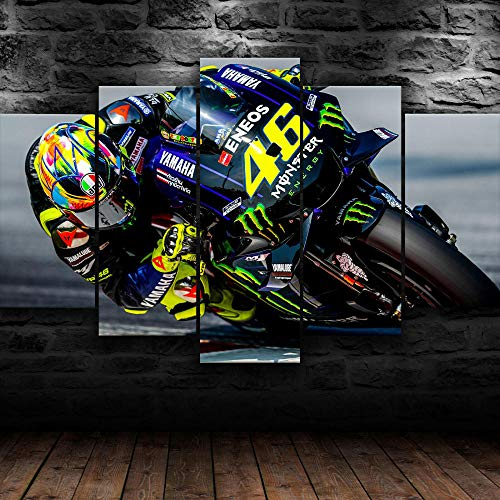 5 Pieces Canvas Wall Art Modular Poster Moto Bike Racing Canvas Painting Wall Art Home Decor For Living Room HD Prints Pictures Wooden Bar Frame Ready to Hang