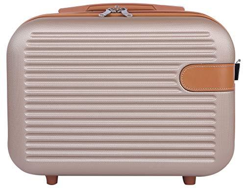 ミニスーツケース お出かけ 旅行 ショルダーベルト付き 2way キャリーオン可能 機内持ち込み たっぷり入る 大きめサイズ ブラウン(L)